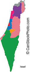 Colorful Israel map - Map of administrative divisions of...