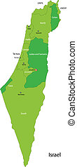 Green Israel map - Map of administrative divisions of Israel
