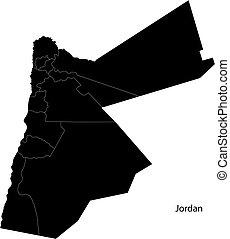Black Jordan map - Map of administrative divisions of Jordan