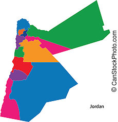 Colorful Jordan map - Map of administrative divisions of...