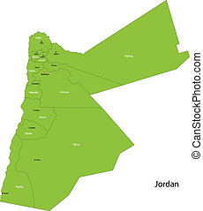 Green Jordan map - Map of administrative divisions of Jordan