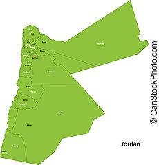 Green Jordan map - Map of administrative divisions of Jordan