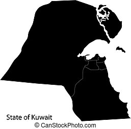Black Kuwait map - Map of administrative divisions of Kuwait