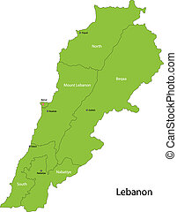 Green Lebanon map - Map of administrative divisions of...