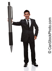 Business man with a big pen