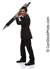 Business man holding a huge pen to the side - Business man...
