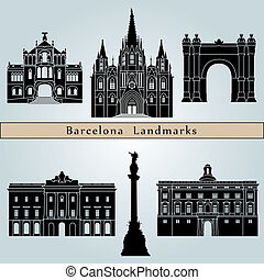 Barcelona landmarks and monuments isolated on blue...
