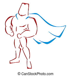 Defender in costume - Muscular super hero standing in a...