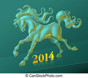Horse - Illustration with New Year 2014 symbol of horse 3D...