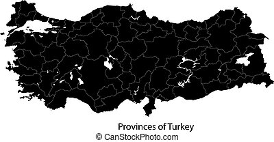 Black Turkey map - Map of administrative divisions of Turkey