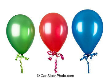 Inflatable balloons isolated on white background