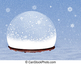 Snow globe - Illustration of magical snow globe on snow...