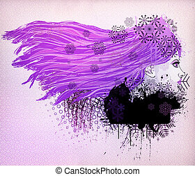 Purple hair girl illustration - Illustration of a girl with...