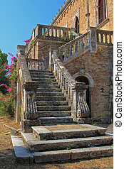 old Castle on Corfu island Greece - Exterior of an old...