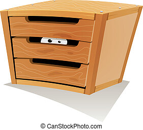 Eyes Inside Wood Drawer - Illustration of a cartoon wooden...