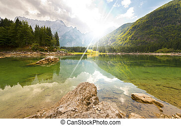 Lago di Fusine - Friuli Italy - Beautiful alpine lake in...
