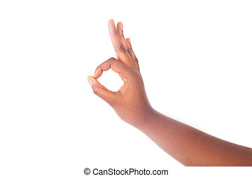 Hand sign isolated on white background