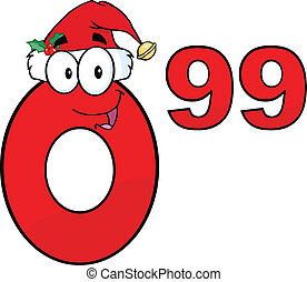 Red Number 0.99 With Santa Hat