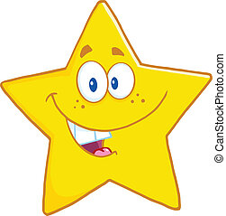 Smiling Star Character - Smiling Star Cartoon Mascot...