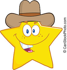 Smiling Star With Cowboy Hat - Smiling Star Cartoon Mascot...