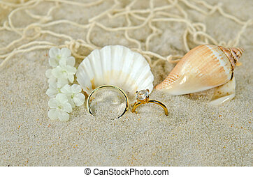 diamond ring with seashells - Wedding ring and diamond with...