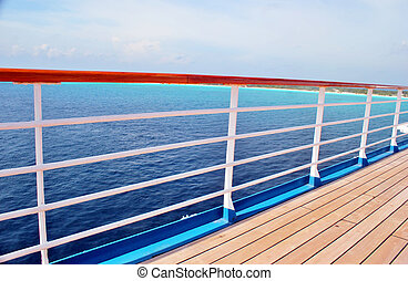 Deck and rail on a cruise ship
