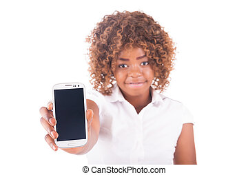 Portrait of young girl with on phone