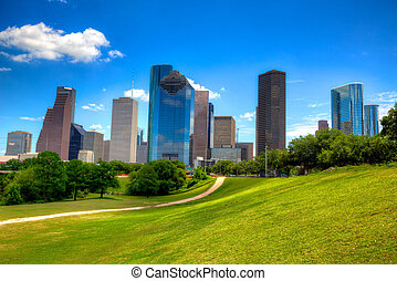 Houston Texas Skyline modern skyscrapers and blue sky -...