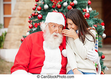 Santa Claus Listening To Girls Wish - Shocked Santa Claus...