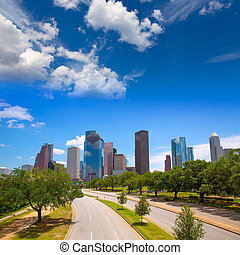 Houston Texas Skyline with modern skyscrapers and blue sky...