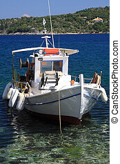 Fishing boat on the Ionian island of Lefkas Greece