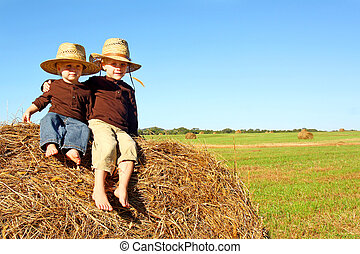 Cute Brothers Outside at Farm - Two cute, happy little...