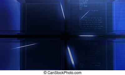 digital blue Cube hd - Modern digital 3D cube background...