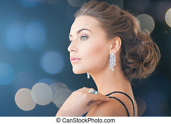 woman with diamond earrings - jewelry, luxury, vip,...