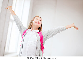 Jugendlich, glücklich, angehoben, m�dchen, Hände