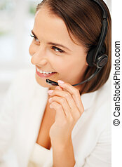 female helpline operator with headphones - business,...