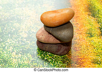 Multi-coloured stones for spa. - Multi-coloured stones for...