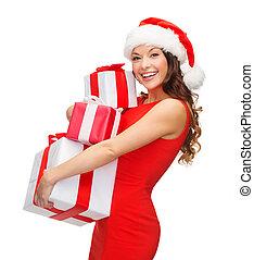 mujer, santa, ayudante, sombrero, Muchos, regalo, Cajas