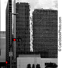 Black and white Houston Texas downtown mirror buildings...