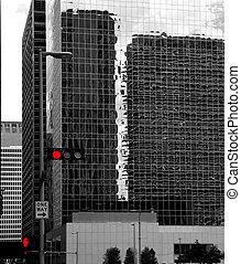 Black and white Houston Texas downtown mirror buildings...