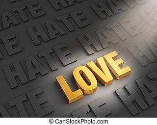 Love Outshines Hate - A spotlight illuminates bright, gold...