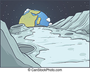 Cartoon lunar landscape - Moon surface landscape. Vector...