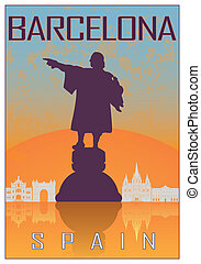 Barcelona vintage poster in orange and blue textured...