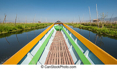 Boat on Inle lake - Boat ride around villages and fields on...