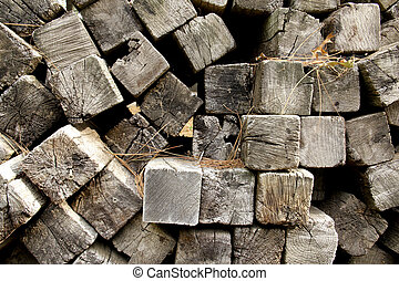 railroad ties background - pile of old railroad ties makes a...
