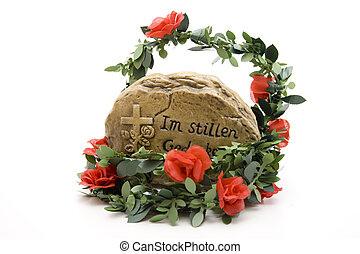 Think stone with rose garland