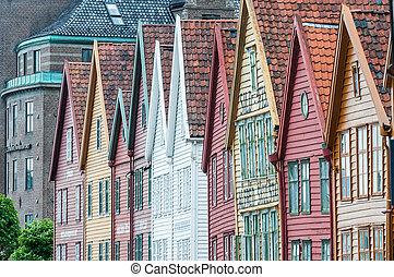 Hanseatic houses in Bryggen, the oldest part of Bergen,...
