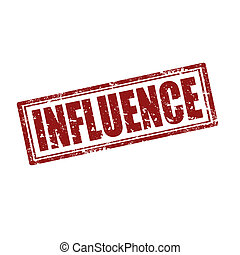 Influence-stamp - Grunge rubber stamp with word...