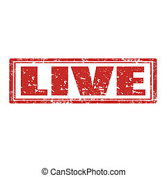 Live-stamp - Grunge rubber stamp with word Live,vector...