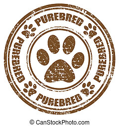 Purebred-stamp - Grunge rubber stamp with word...